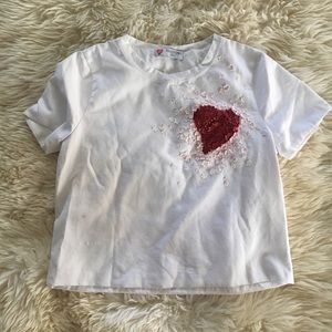 Valentino L'amour heart Motif Leather Tee Sz S